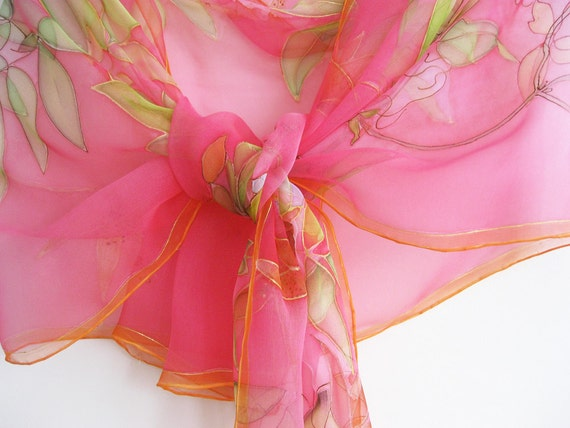 Hot pink Silk scarf hand painted Woman gift - Spring fashion green botanical