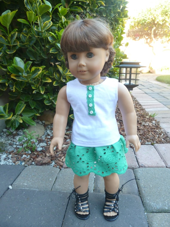 American Girl Doll Clothes - Blarney Castle 2 piece outfit includes tank top and embroidered skirt