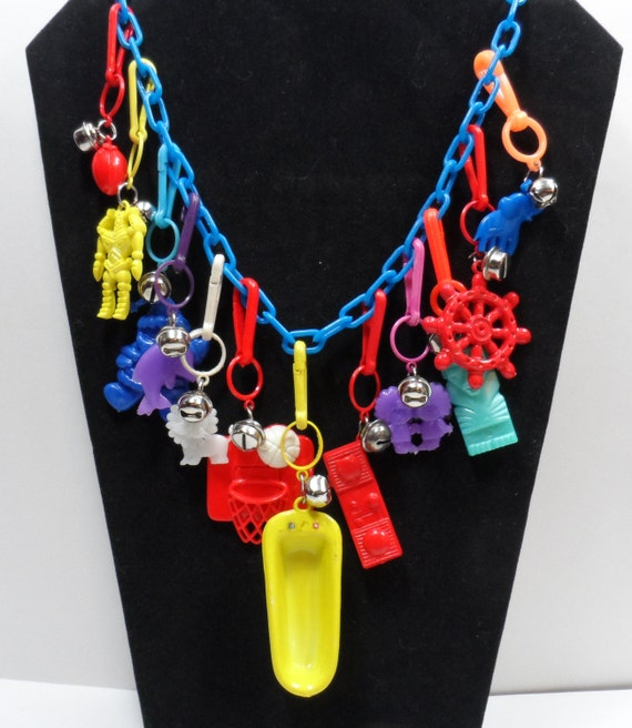 80s Blue Plastic Charm Necklace with Charms and  Bells