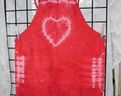Woman's tie dyed red heart cotton apron