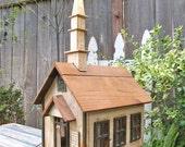 Vintage Wood Church House, OOAK,  Dollhouse, Birdhouse, Rustic, Hand Made, Folk Art Epsteam