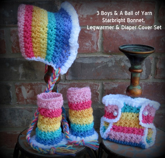 Rainbow Bonnet / Diaper Cover Leg Warmers / Photography Prop / 3 Sizes / 3 Boys & A Ball of Yarn