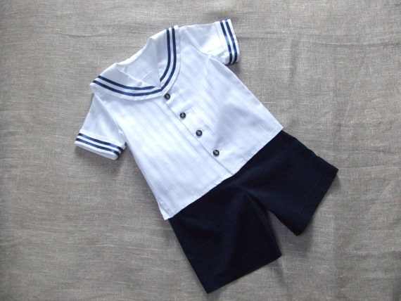 Sailor boy suit for size 34 inch (86 cm), boy party suit, baptism / christening boy outfit, ring bearer baby boy, first birthday boy clothes