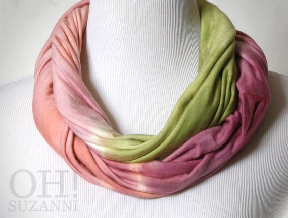 Pink Spring Infinity Scarf // Pink and Lime Green Scarf // Jersey Hand Dyed Shibori Scarf // Boho Beach Scarf