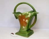 Roseville Snowberry Fern Green Handled Basket Vase Ohio - twocheekychicks