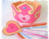 Felt Birthday Party Crown and wand, Fairy Tiara, Felt Crown - MelsCreativeWishes