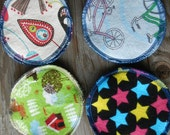 Reusable Nursing Pads set of 4 flannel cloth washable breastmilk breastfeeding baby bike bicycles upcycled recycled repurposed solar made