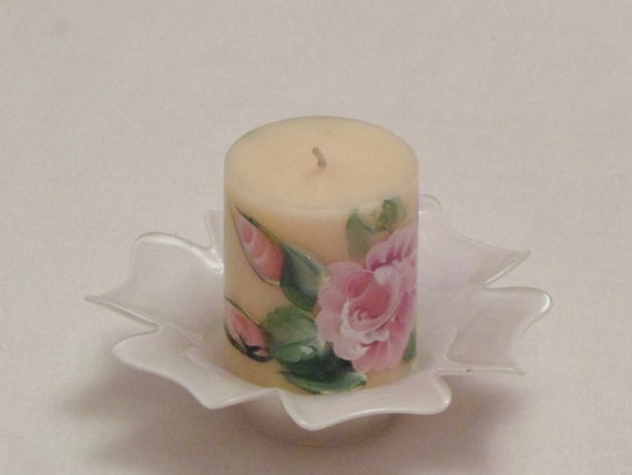 Candle - handpainted roses