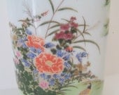 Vintage 8 Inch Flowered Vase, Retro Flowered Vase, Shaddy Mino Vase, Porcelain Flower Vase, Oriental Design Vase