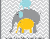 8X10 elephant kids wall art, teal, gray and orange elephant childrens art,  nursery prints, sunshine art, art for babies, grey childrens art