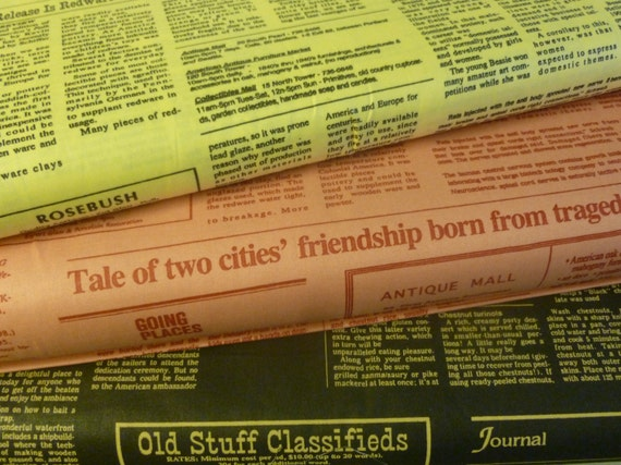 Newspaper Print  by Suzuko Koseki for  Yuwa of Japan - Fat Quarter