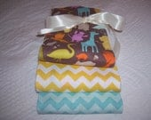 Burp Cloth Set of Three (3) - Kate Spain's Central Park Zoo in brown and Riley Blake's Chevron in Yellow and Aqua on Aqua