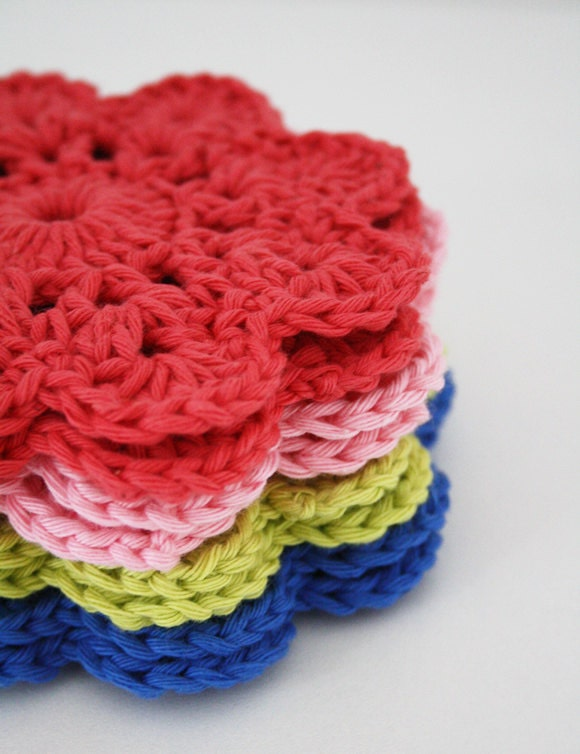 Crochet Coasters - Happy in Red
