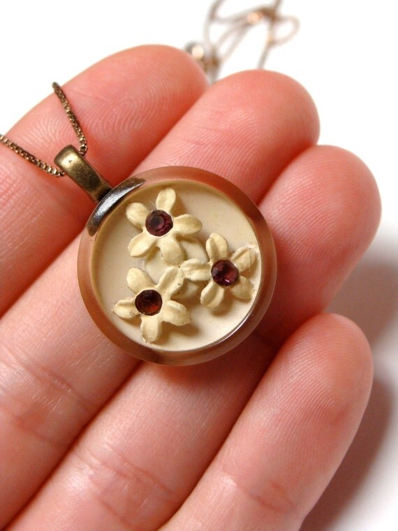 vintage lucite button necklace charm with flowers
