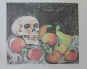 Skull with Fruit Monotype Oil Pastel Print on White Paper