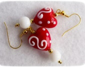 SWEETHEART VALENTINE lampwork glass earrings, long dangles, red & white, gift for her, holiday, ready to ship, heart, love - NeedfulTreasures4U