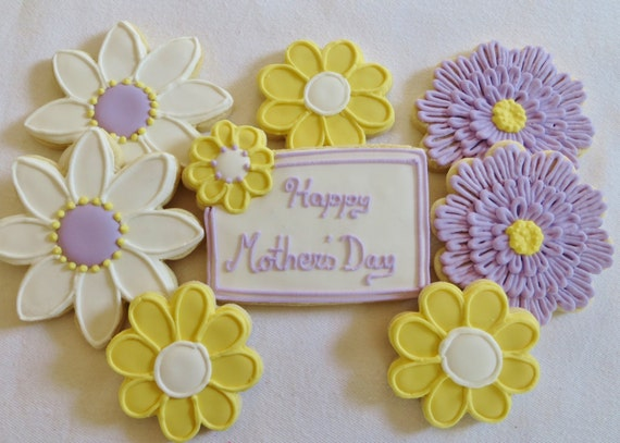 Purple and Yellow Flower cookie favors decorated for Mother's Day/Birthday etc. , 1 dozen