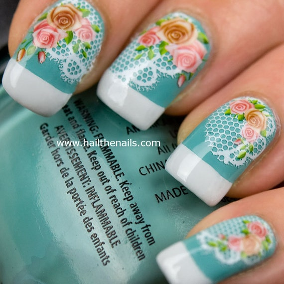 Vintage Rose & Lace Nail Art Water Transfer Decal YD007
