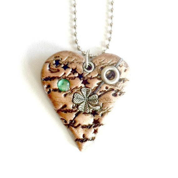 Mended Irish Heart Necklace Steampunk Copper heart Mother's Day Gift Free US Shipping