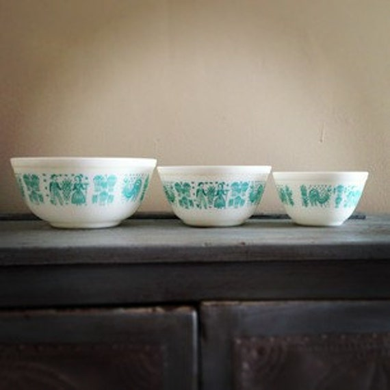 Vintage Light Blue & White Pyrex Set