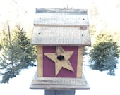 Birdhouse...Rustic Star Birdhouse...primitive birdhouse....country birdhouse...garden accessory