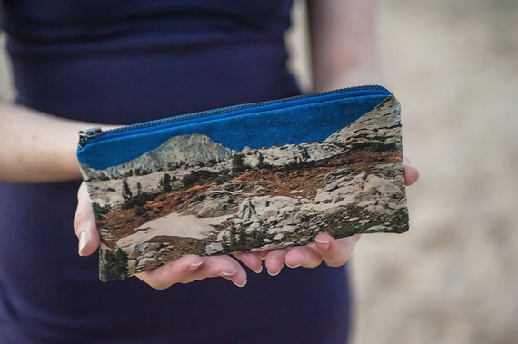 Pencil Zipper Pouch, California Nature Print. Fabric Pencil Case / Small Cosmetics Bag