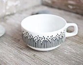 "Hand-painted vintage coffee mug ""somewhat angular"", black and white - RoomforEmptiness"