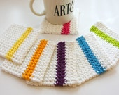 Mug Rugs in Bright Colorful Crochet Coasters, Home Garden Dining Entertaining Crochet Coasters - GetTangled
