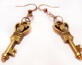 HANDMADE Skeleton Key Earrings, VINTAGE Look Key Earrings, Antique Bronze Dangle Key Earrings, Best Gift For Her, Gift Ideas For Her