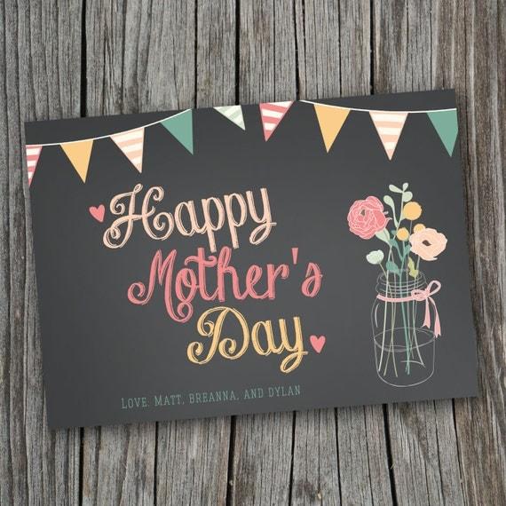 Mother's Day Card - Printable, Custom - DIY, MODERN, Chalkboard, Rustic
