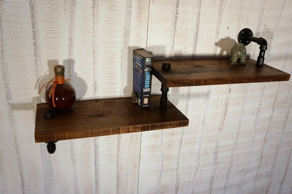 Industrial Pipe With Reclaimed Wood Shelves