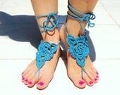 barefoot sandals, blue barefoot sandles, wedding beach party, crochet sandals, foot jewelery, hippie