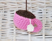 cute pincushion ideal gift for mother's day, tea cup ornament crochet, decor office desk, gift idea - LovelyKnitCrochet