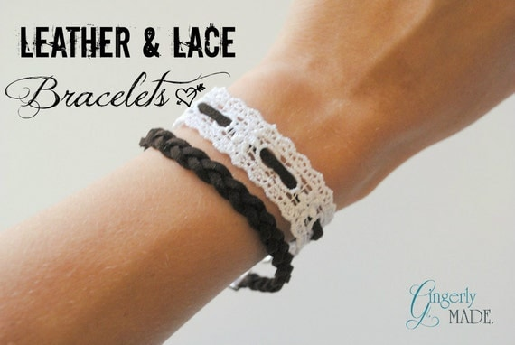 Leather and Lace Bracelet Set