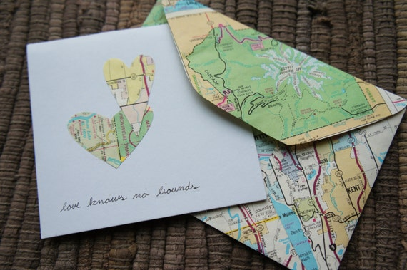 vintage map valentine's day cards