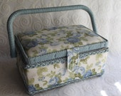 Blue Cloth Sewing Basket with Sewing Items Inside