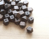 Geometric Dark Brown Painted Wood Beads - 10 pcs of wooden beads - wood supplies - 20mm - AbsolutSupplies