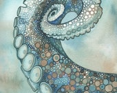 Octopus Tentacle Arm 4 x 6 print of hand painted detailed watercolour artwork in turquoise blue green and rust earth tones - psychedelic sea - DeepColouredWater
