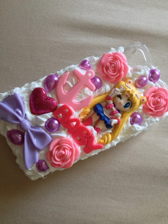 CUSTOM MADE Sailor Moon Inspired Whipped Cream Kawaii Decoden Phone Case