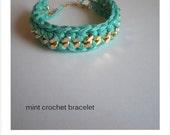 Mint colour crochet bracelet