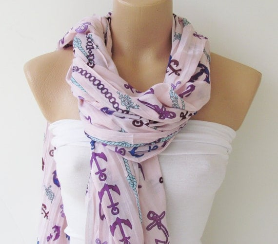 Oversize Anchor Pattern Soft Pink Scarf -Fall Fashion Scarf-Headband-Beach Pareo- Infinity Scarf- Beach Sarong-Long Scarf-New Season