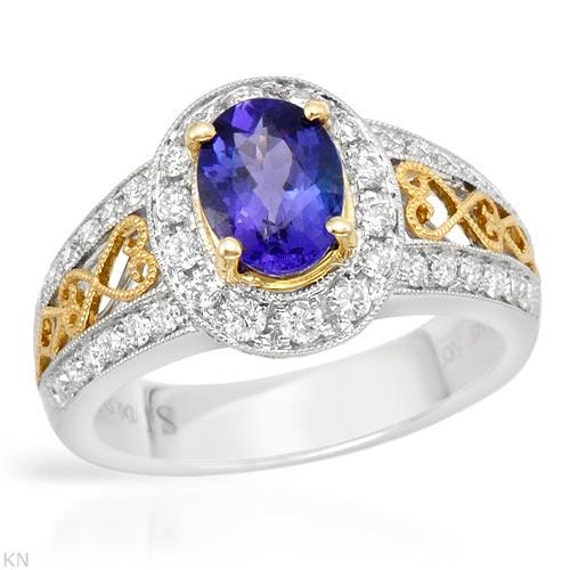Estate Vintage Victorian Engagement Ring Diamond and Tanzanite 1.85CT 14K Solid Two Tone Gold