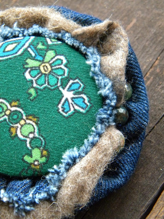 Handmade textile brooch - Blue Grey Green - Russian shawl Jasper Denim Unpainted woll
