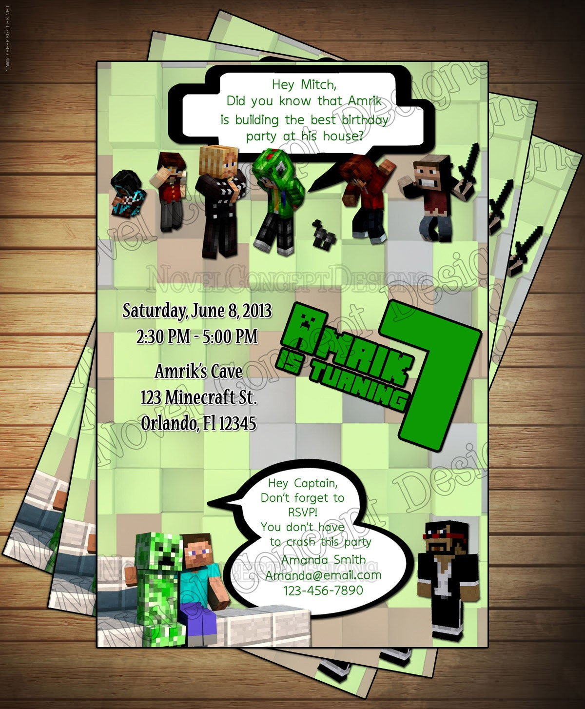 Novel Concept Designs May 2013 – Mine Craft Invitation Template