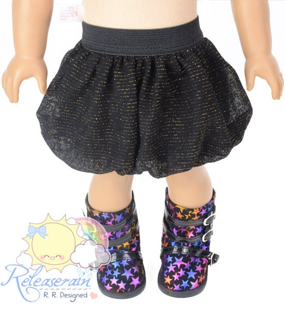 "Black Elastic Banded Waist Black/Gold Sparkly Stripes Mesh Tulle Bubble Skirt Doll Clothes Outfit for 18"" American Girl dolls"