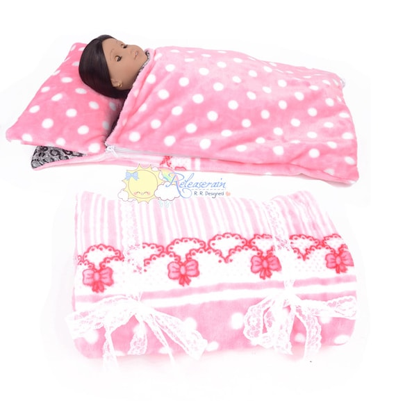 "Pink/White Polka Dots Stripes Fleece with Black/Grey Leopard Satin Sleeping Bag No.BG02 for 18"" American Girl, My Twinn doll"