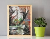 Graffit // OOAK reclaimed cardboard wall art // contemporary artwork