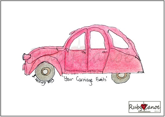 Your Carriage Awaits- Little Red Car Giclee Print 8x10