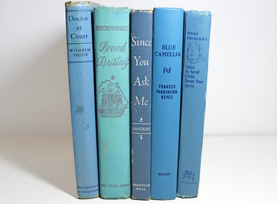 5 Vintage Sky Blue Book Collection - Book Decor - Photography Prop - Interior Decor