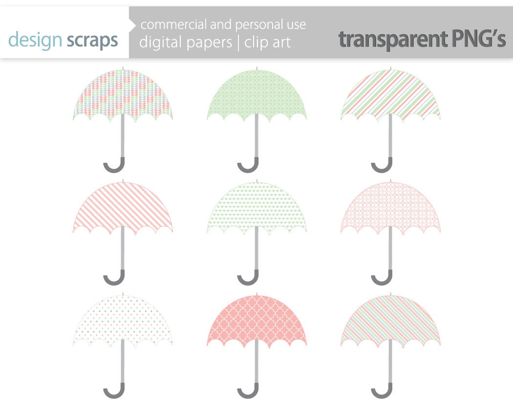 Green Bridal Shower Umbrella Clip Art